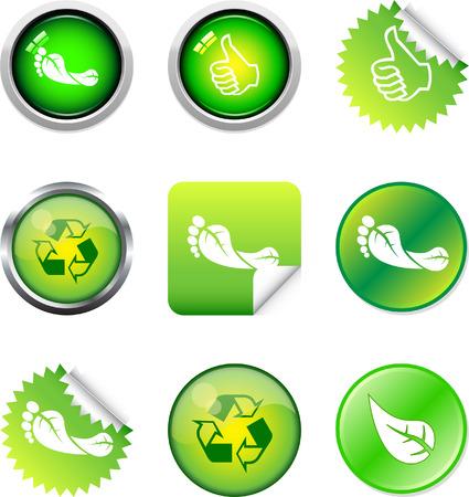 A Colourful 'Green' Button Set Stock Vector - 4383921