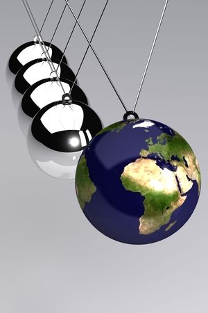 domino effect: A 3d Rendered Global Business Time Illustration Stock Photo