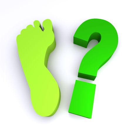 ozone friendly: How green is your footprint?  3d rendered image