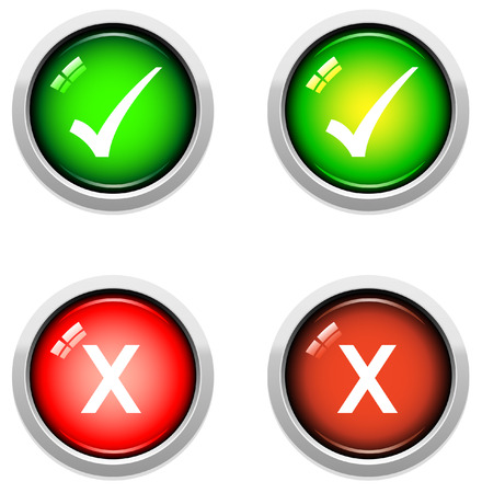 A Colourful Set of Tick Buttons Vector