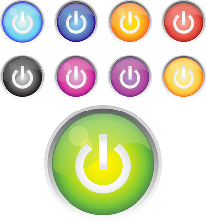 A Colourful set of On and Power Icons Vector