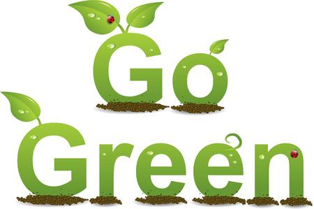 A Colourful 'Go Green' Illustration Illustration