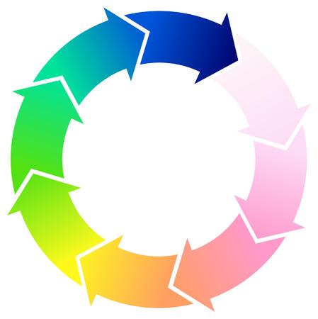色ベクトル矢印円周配置図