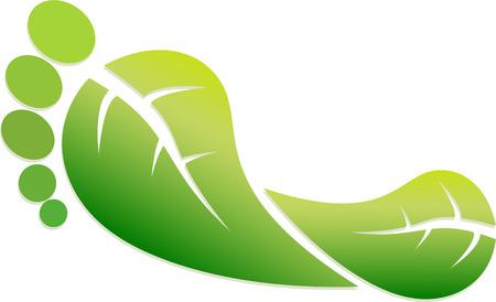 """Een kleurrijke """"Green Footprint"""" Illustratie Stock Illustratie"""