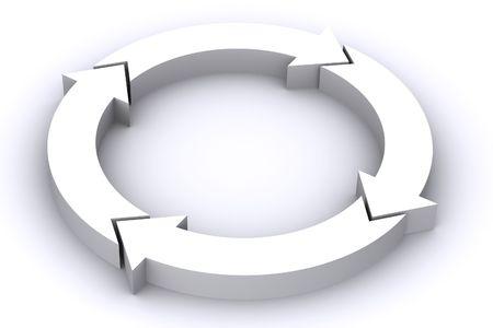 矢印の輪の 3 D レンダリングされたイメージ