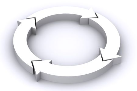 A 3D Rendered Image of a Circle of arrows