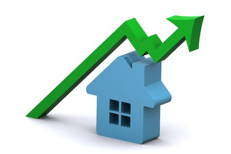 housing market: A 3d Rendered Illustration showing a rise in the Housing Market Stock Photo