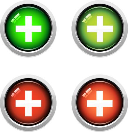 医療ボタンのカラフルなセット  イラスト・ベクター素材