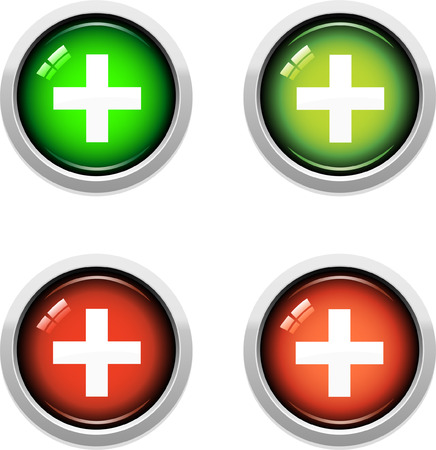 A Colourful Set of Medical Buttons Vector