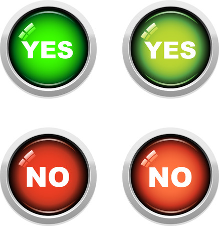 A Colourful Set of Yes  No Buttons Vector