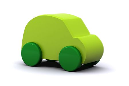 A 3d Rendered Illustration of a Green Car