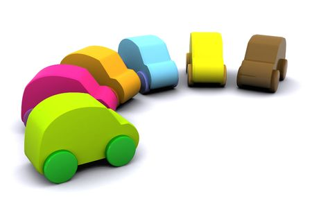 A 3d Rendered Image of a Selection of Cars