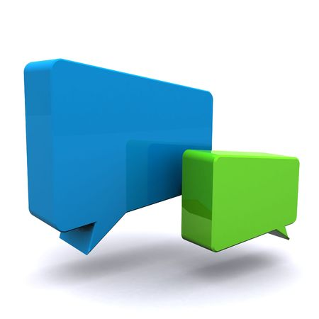 conversing: A 3d Rendered Illustration of a Set of Speech Bubbles Stock Photo