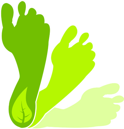 A Colourful Green Footprint Illustration Vector