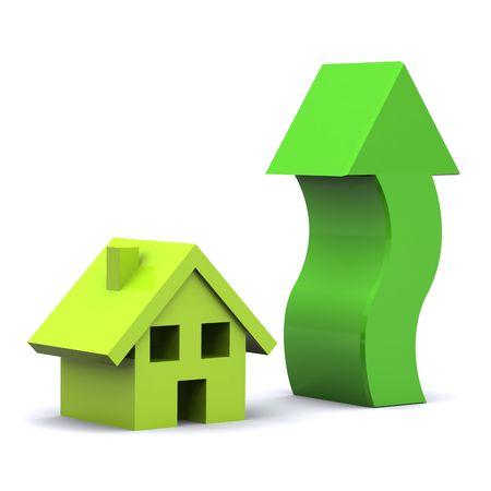 カラフルな住宅市場の上昇を示す 3 d レンダリング図