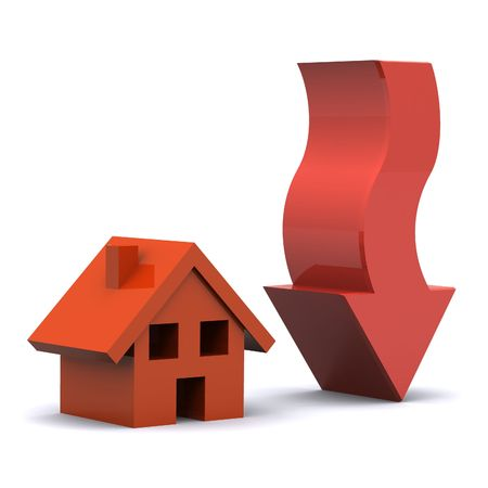 housing market: A Colourful 3d Rendered Illustration showing a Fall in the Housing Market Stock Photo
