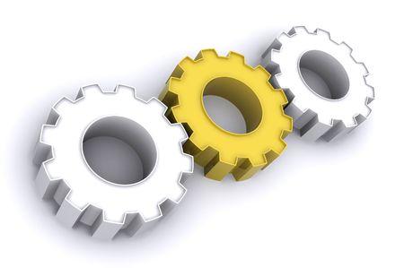 A 3d Rendered Illustration showing Teamwork through Gears illustration