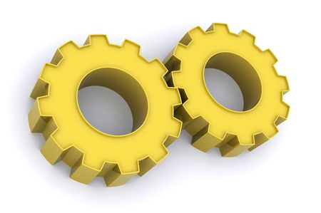 organised: A 3d Rendered Illustration showing Teamwork through Gears