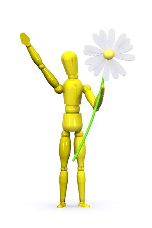 A 3d Rendered Man Holding a Flower for Love photo