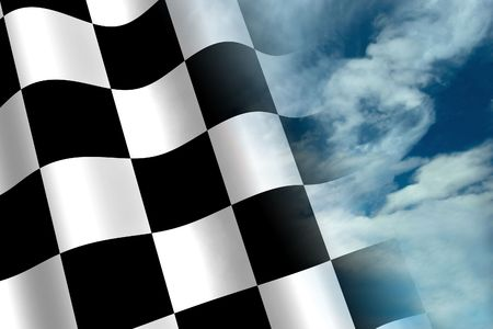 A 3d Rendered Chequered Flag Blended into a Beautiful Sky