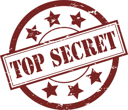 Een rode Top Secret rubbers tempel illustratie  Vector Illustratie