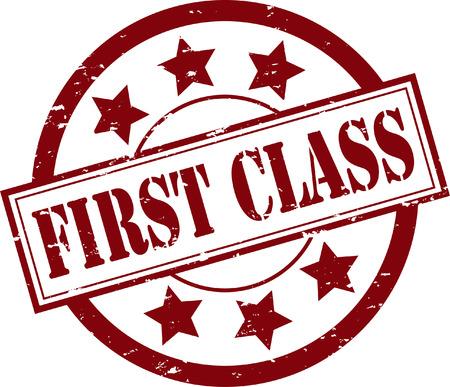 ファースト ・ クラスのゴム製スタンプ イラスト  イラスト・ベクター素材