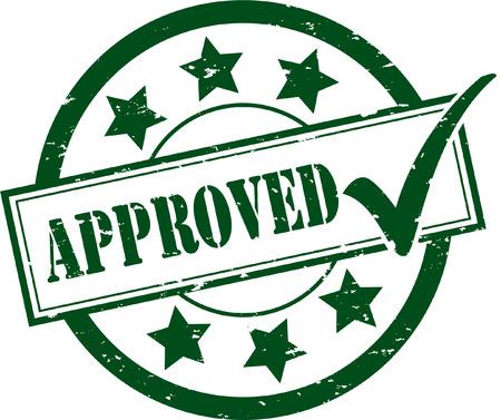 承認されたゴム製スタンプの実例  イラスト・ベクター素材