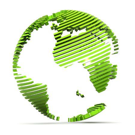 3 d レンダリング緑の地球の図