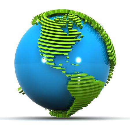 カラフルな 3 d は、アメリカに焦点を当て、緑の地球の図