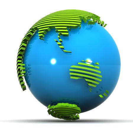 カラフルな 3 d は、緑の地球の図は日本に焦点を当てオーストラリア
