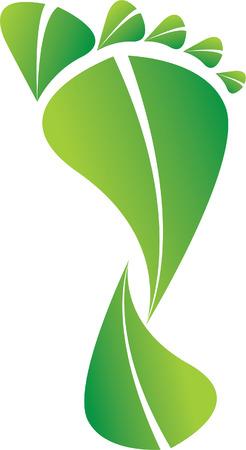 カラフルな緑エコ炭素フット プリント イラスト  イラスト・ベクター素材