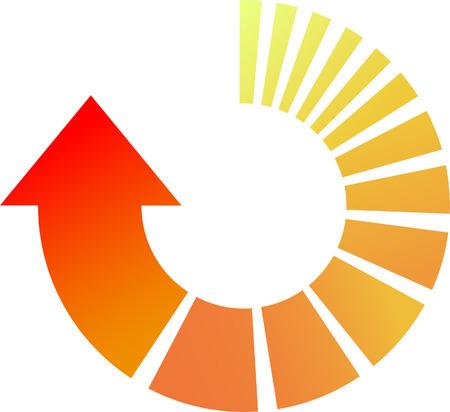 カラフルなベクトルの矢印円周配置図