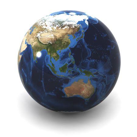 A Colourful 3d Rendered Australia  / Japan Earth Globe