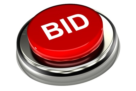 A Colourful 3d Rendered Bid Button Illustration Stock Photo
