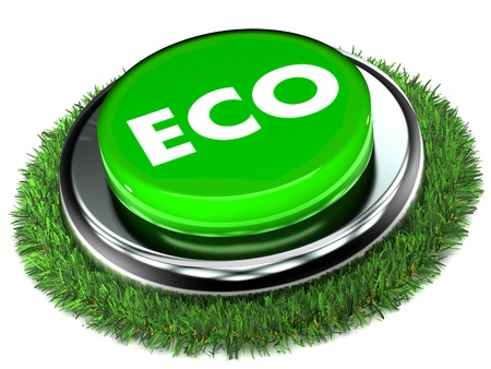 A Colourful 3d Renderd Eco Button Stock Photo