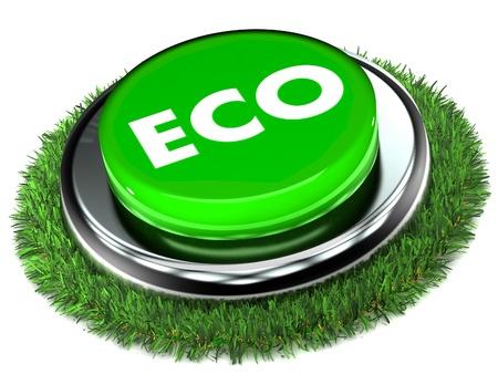 A Colourful 3d Renderd Eco Button Standard-Bild