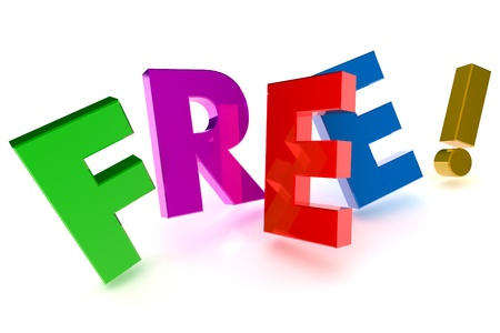 A Colourful 3d Rendered 'Free' Concept Illustration Standard-Bild