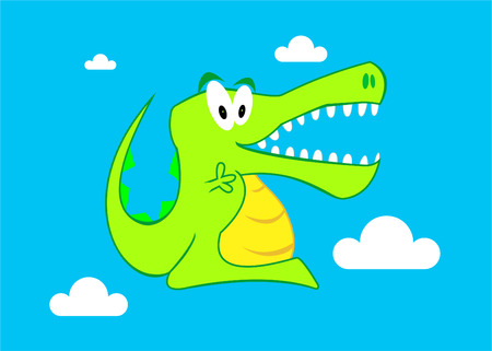 A Colourful Cartoon Crocodile Illustration Vector