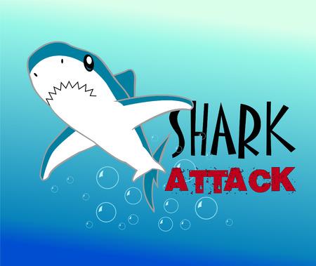 great white shark: A Colourful Shark Illustration