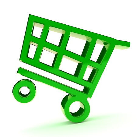 purchase order: A Colourful 3d Rendered Shopping Cart Illlustration