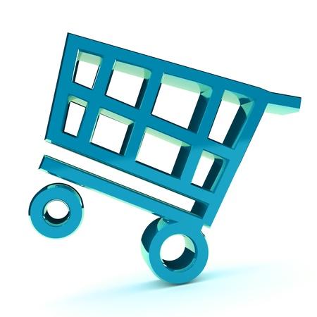 castors: A Colourful 3d Rendered Shopping Cart Illlustration