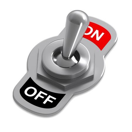 トリガー: A 3d Rendered Switch Illustration in a On Position