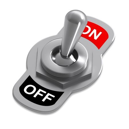 A 3d Rendered Switch Illustration in a 'On' Position