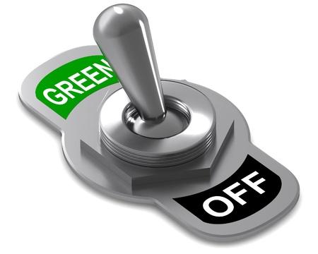 カラフルな 3 d レンダリング緑色のスイッチの概念図 写真素材