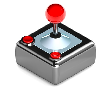 arcade: A Colourful 3d Rendered Gaming Joystick Illustration Stock Photo