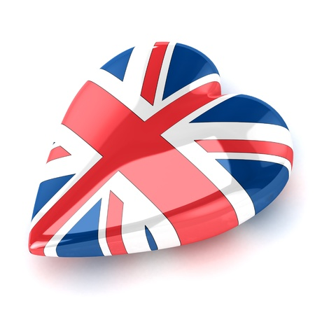 A Colourful 3d Rendered Union Jack Heart Illustration illustration