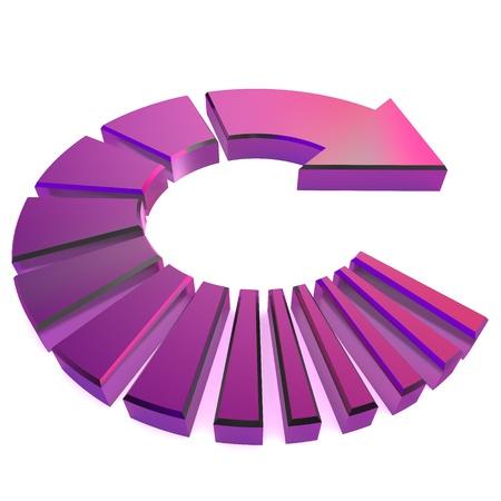 A Colourful 3d Rendered Purple Circular Arrow Illustration illustration
