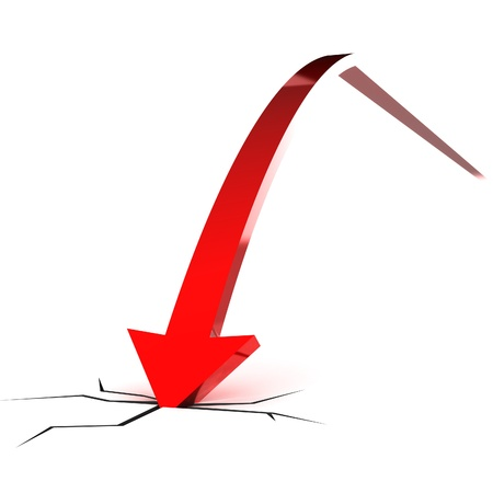 A Colourful 3d Rendered Falling Red Arrow Illustration Standard-Bild