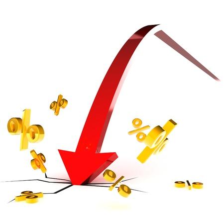 Une illustration 3d colorés rendus crash de taux d'intérêt
