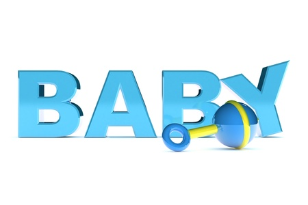 baby rattle: A Colourful 3d Rendered Baby Boy Text Illustration